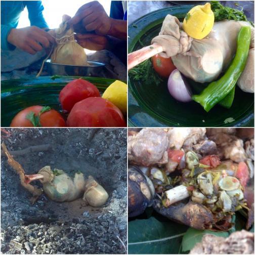 Réalisation traditionnelle d'un Tajine Tayb Farmla (cuit dans le sable)