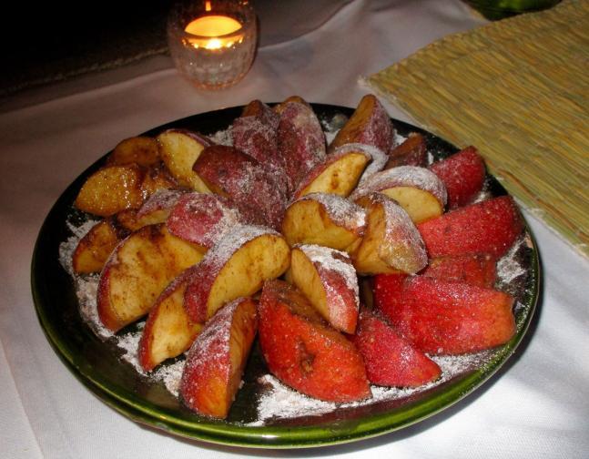 Pommes confites parsemées de sucre glacé