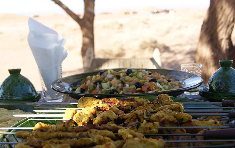 Brochettes poulet et légumes